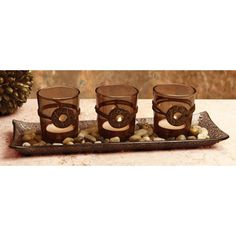 CircleWare Set Of 3 Country Candles On A Tray - Beyond the Rack