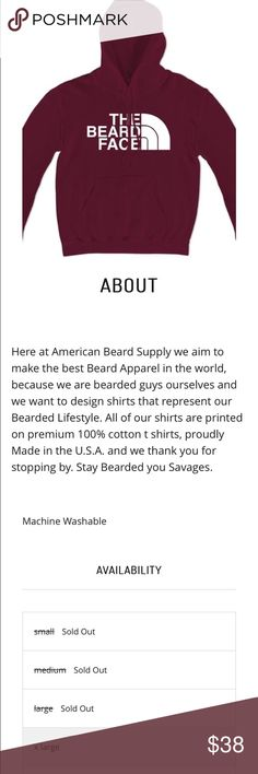 """American Beard Supply Hoodie -LAST ONE TIL RESTOCK """"The Beard Face""""_ American Beard Supply is our new apparel label made by the bearded for the bearded, and the women who love their bearded men!! More coming to Poshmark, check out our website to view all of our quality products. Www.americanbeardsupply.com Stay bearded! Shirts Sweatshirts & Hoodies"""