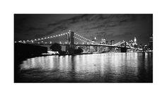 "Brooklyn Bridge from Brooklyn at Night © Dave Butcher ""Brooklyn Bridge and Manhattan from the Brooklyn shoreline between Brooklyn and Manhattan Bridges at night. New York""."