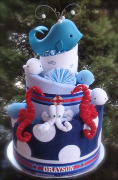 Whale themed diaper cake www.facebook.com/DiaperCakesbyDiana Baby Girl Shower Themes, Baby Boy Shower, Baby Shower Gifts, Baby Gifts, Baby Shower Diapers, Baby Shower Cakes, Baby Shower Parties, Shower Party, Nautical Diaper Cakes
