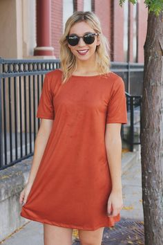 Short Sleeve Round Neck Deep V Back Faux Suede Dress – UOIOnline.com: Women's Clothing Boutique