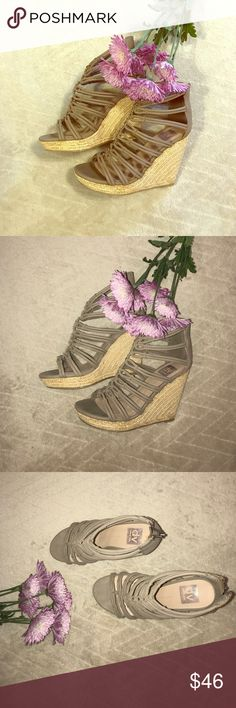 Dolce Vita taupe wedges So cute!! 7.5 size.  Worn twice.  Almost new condition.  No flaws.  Bottoms show signs of being worn, as pictured, but everything else is perfect!  Color goes with everything!  LOVE these!  I just never have a chance to wear heels due to being a mommy of 3! :) Dolce Vita Shoes Wedges