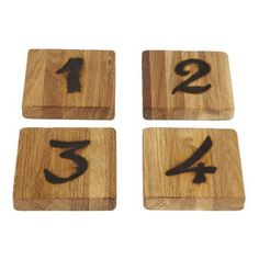 Numbers Coasters - Set of 4 ($48) ❤ liked on Polyvore featuring home, kitchen & dining, bar tools, handmade coasters and home decorators collection