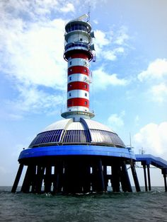One Fathom Bank Light, Selangor, Straits of Malacca, Malaysia. This light was activated in 1999.