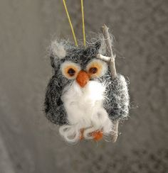 Grey Owl. Needle Felted Ornament.