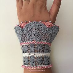 This one of a kind beaded crochet cuff is made of best quality pure cotton yarns and diffrent kinds of beads. Has unique pattern. Closing part is finished with three square bottons. Its very unique and romantic. One size fits most. READY TO SHIP