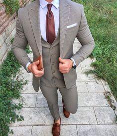 Men's three piece suit style Men's Suits, Cool Suits, Gray Suits, Grey Suit Brown Shoes, Best Suits For Men, Suit For Men, Men Suit Shoes, Designer Suits For Men, Designer Clothes For Men