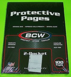 100 PRO 2-POCKET ALBUM PAGES FOR COVERS, PHOTOS, POSTCARDS, COUPONS, ETC. BY BCW - http://stamps.goshoppins.com/stamp-publications-supplies/100-pro-2-pocket-album-pages-for-covers-photos-postcards-coupons-etc-by-bcw/