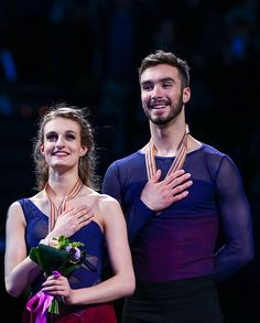 Gabriella Papadakis and Guillaume Cizeron of France receive the gold medal for the ice dance free dance competition during Day 4 of the ISU World...