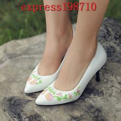 Bride Womens Wedding Mid Heels Embroidered Casual Shoes Party Pointy Toe Slip On