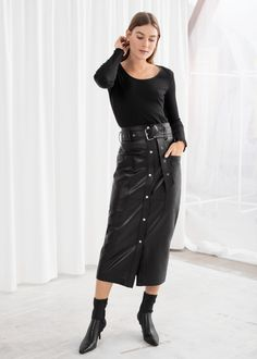 4c58600e4 Belted Leather Midi Skirt Leather Midi Skirt, Smooth Leather, Who What  Wear, Work