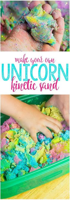 This Unicorn Kinetic Sand is the perfect sensory toy, and in bright, vibrant sparkly colors, it looks just like a unicorn, too! Easy to make and fun to play with, you can make DIY Kinetic Sand at home!
