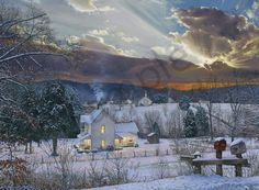 "Hometown Lights on Fine Art Paper for Sale - <p>The winter sun sets behind Cherry Mountain in Sunshine, NC which is only a few miles up the road from my studio.</p>  <p><span style=""font-family:arial,helvetica,sans-serif;""><span style=""font-size: 14px;""><span style=""color: rgb(0, 0, 0); font-style: normal; font-variant-ligatures: normal; font-variant-caps: normal; font-weight: normal; letter-spacing: normal; text-align: start; text-indent: 0px; text-transform: none; white-space: normal…"