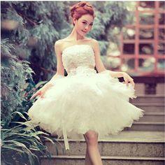 オフホワイト ミニウェディングドレス ウエディングドレス 花嫁 結婚式 披露宴 ビスチェ HS64