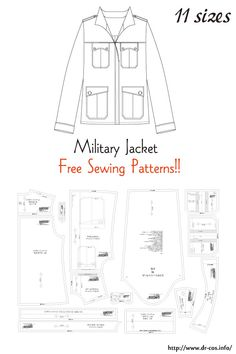 This is the pattern of a Military Jacket. Mens Sewing Patterns, Japanese Sewing Patterns, Clothing Patterns, Vogue Patterns, Vintage Patterns, Vintage Sewing, Mens Shirt Pattern, Jacket Pattern, Jumpsuit Pattern