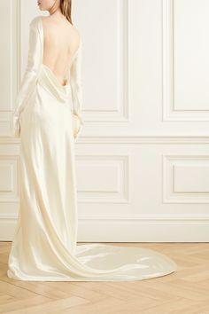 Danielle Frankel - Simone open-back draped wool and silk-blend satin gown Stunning Wedding Dresses, Classic Wedding Dress, Best Wedding Dresses, Beautiful Dresses, Wedding Gowns, Backless Wedding, Pretty Dresses, Elizabeth Fillmore, Grace Loves Lace