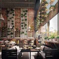 Restaurant Vol 1 is part of Cafe interior design Coffee Bar amp; Restaurant Vol 1 at VWArtclub - Restaurant Plan, Deco Restaurant, Modern Restaurant, Coffee Shop Design, Cafe Design, Coffee Shop Interior Design, Mein Café, Loft Cafe, Green Cafe