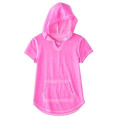 Girls 7-16 & Plus Size SO® Short Sleeve Sparkle Hooded Pullover, Size: 16 1/2, Pink