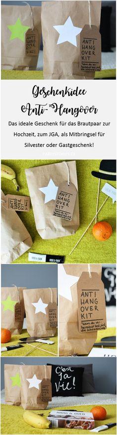 Feiern ohne Katerstimmung. Ein schnelles DIY Geschenk, perfekt für den JGA, die Hochzeit, als Gastgeschenk oder die Silvesterparty: Anti-Hangover Kits!