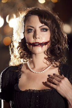 Black Dahlia Halloween Makeup by Amelia C & Co hair and makeup artistry Las Vegas