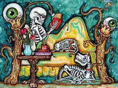 Lisa Luree Original 16x20 Day of The Dead Skeleton Reading Bed Painting Sparkly | eBay