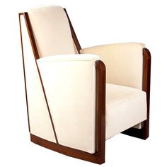Art Deco bergere by Francisque Chaleyssin  France  1930  French Art Deco over - upholstered armchair with an angular frame in mahogany by Francisque Chaleyssin, Edition Dim, Lyon, c. 1930.