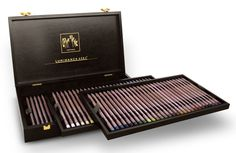 The full range of 76, Luminance ,Swiss made, professional quality, permanent ,colour pencils with the highest lightfastness and the smoothness of a permanent lead in a luxury wooden box.