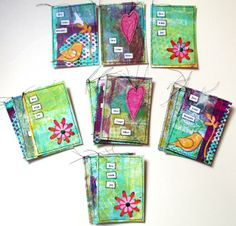 """5 sets of three ATCS (Artist Trading Cards - 2/12"""" x 3 1/2"""")!!! Each set includes three -live your bliss, live with joy, live your dreams. These were made using my gelli plate prints."""
