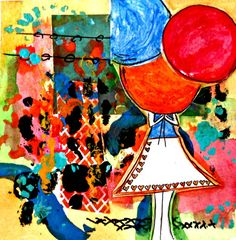 Balloon Girl Mixed Media Original 6x6 Peace Here by RobinNorgren on etsy