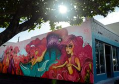 A mermaid mural created by artist Tatiana Suarez of Miami as part of the Hollywood Downtown Mural Project decorates the side of a building a...