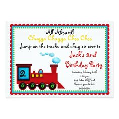 Train Birthday Party Invitations Train Invitations, Choo Choo Card