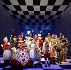 Alice in Wonderland - love the set and costumes Alice In Wonderland Musical, Wonderland Theater, Halloween Alice In Wonderland, Wonderland Costumes, Alice In Wonderland Tea Party, Adventures In Wonderland, Beatrix Potter, Alice Costume, Little Shop Of Horrors