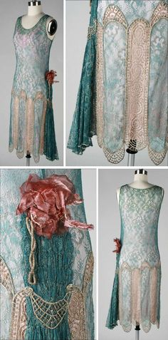 Dress, 1920s. Deep teal lace, metallic gold embroidery trim. Glass beads around sleeve openings; left waist sash with millinery trim. Shown over a pink slip, which is not part of the outfit. Mill Street Vintage/1st Dibs