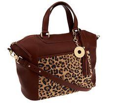 Isaac Mizrahi Live! Bridgehampton Leather Leopard Tote