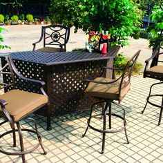 Darlee Ten Star 5 Piece Cast Aluminum Patio Party Bar Set With Swivel Bar Stool *** Read more by visiting the link on the image. Outdoor Bar Table, Patio Bar Set, Outdoor Decor, Patio Seat Cushions, Patio Loveseat, Outdoor Bar Sets, Outdoor Seating Areas, Outdoor Ottomans, Outdoor Dining Chairs