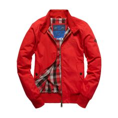 Superdry Longhorn Harrington Jacket ($100) ❤ liked on Polyvore featuring men's fashion, men's clothing, men's outerwear, men's jackets, red, mens red jacket, mens outerwear, superdry mens jacket, mens diamond quilted jacket and mens jackets