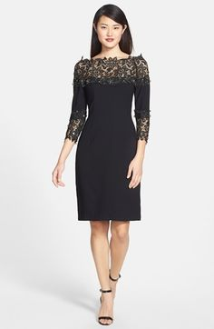Nue by Shani Crepe & Lace Sheath Dress | Nordstrom