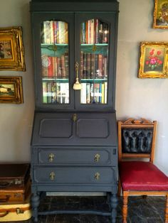 Antique Writing Bureau, Bookcase, Shabby Chic, Annie Sloan, Solid Oak, Graphite