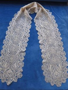 Antique Handmade Lace Lappet Scarf- Silk Maltese Bobbin Lace in Antiques, Fabric/ Textiles, Lace/ Crochet/ Doilies | eBay