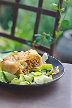 Pastilla de poulet au safran, tagliatelles de courgettes