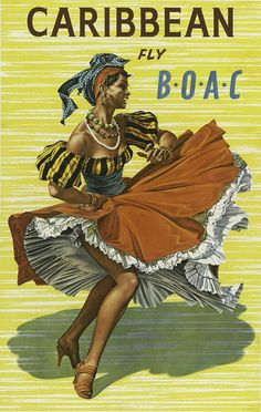 free printable, printable, classic posters, free download, graphic design, retro prints, travel, travel posters, vintage, vintage posters, Caribbean, Fly B.O.A.C. - Vintage Travel Poster
