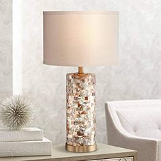 Buy Margaret Coastal Accent Table Lamp Mother of Pearl Tile Cylinder Cream Linen Drum Shade for Living Room Family Bedroom Bedside - 360 Lighting Drum Shade, Table Lamp Design, Bedside Pendant Lights, Coastal Accent Table, Lamps Living Room, Crystal Lamp, Lamps Plus, Lamp Inspiration, Pearl Tile
