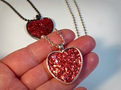 CLICK here if you need to sparkle! Sparkly Glitter Heart Necklace Pendant Faux Druzy by BluKatDesign