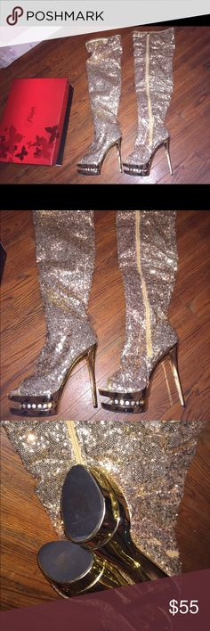 Gold sequin boots Size 8 brand new Pleaser Shoes Heeled Boots
