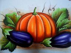 Como pintar Abóbora e Beringela em tecido