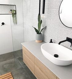 Added a little texture to this ensuite with these beautiful matte penny round tiles . - Added a little texture to this ensuite with these beautiful matte penny round tiles . Bathroom Design Small, Bathroom Interior Design, Bathroom Designs, Bathroom Ideas, Bathroom Inspo, Kitchen Design, Small Bathroom Makeovers, Small Bathroom Tiles, Small Tiles