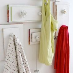 old drawers and knobs.  Cute idea