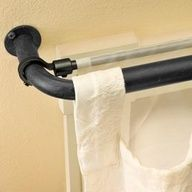 Use a bungee cord to instantly hang a second sheer curtain panel behind existing curtains instead of hanging a second pole. Use a bungee cord to instantly hang a second… Sheer Curtain Panels, Panel Curtains, Double Curtains, Layered Curtains, Curtain Hanging, Diy Curtains, Beige Curtains, Patterned Curtains, Rustic Curtains