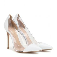 Gianvito Rossi Leather and Transparent Pumps (9,555 MXN) ❤ liked on Polyvore featuring shoes, pumps, heels, white, gianvito rossi, transparent pumps, white shoes, genuine leather shoes and see-through shoes