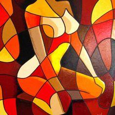 woman sit down Patience Abstract Canvas Art, Diy Canvas Art, Cubist Art, Canvas Painting Tutorials, Modern Art Paintings, Arte Pop, Geometric Art, Mosaic Art, Erotic Art